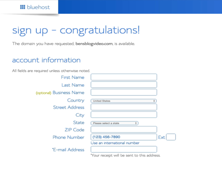 bluehost-totrial-account-information