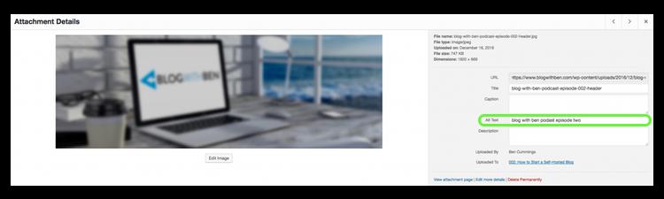 optimize images alt attribute