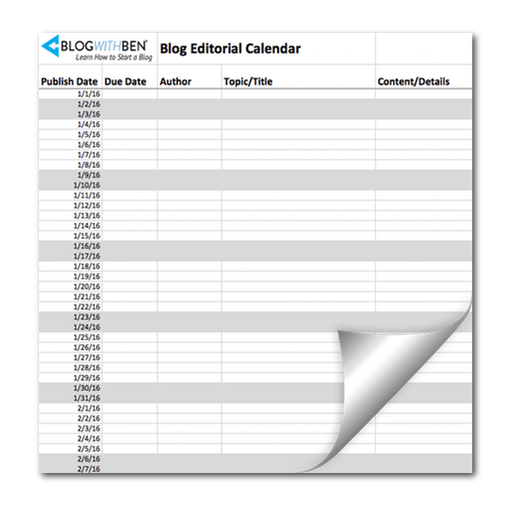 blog with ben editorial calendar