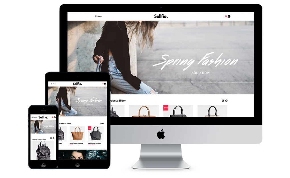 sellfie wordpress theme on a desktop and mobile device