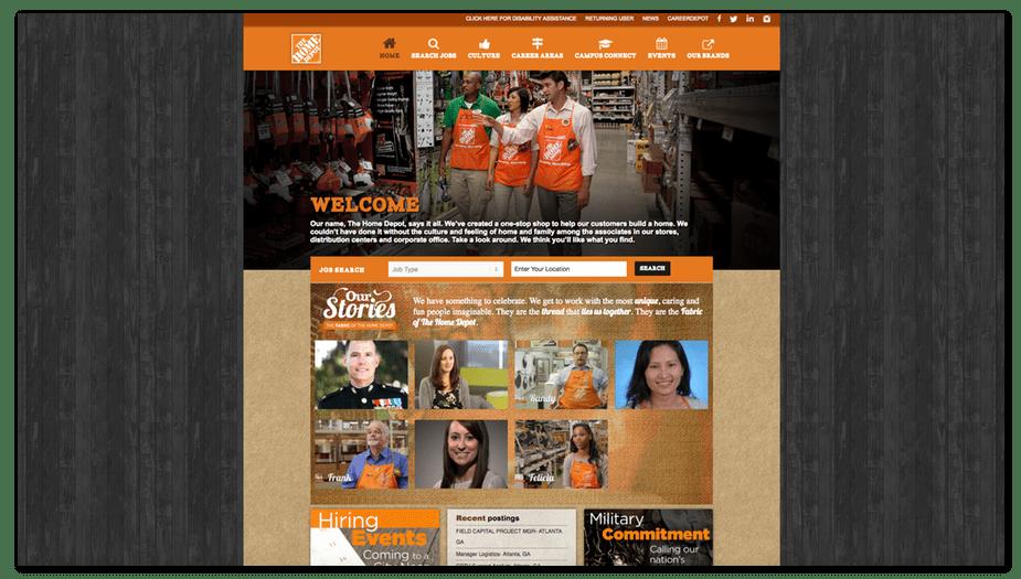 home depot careers website homepage