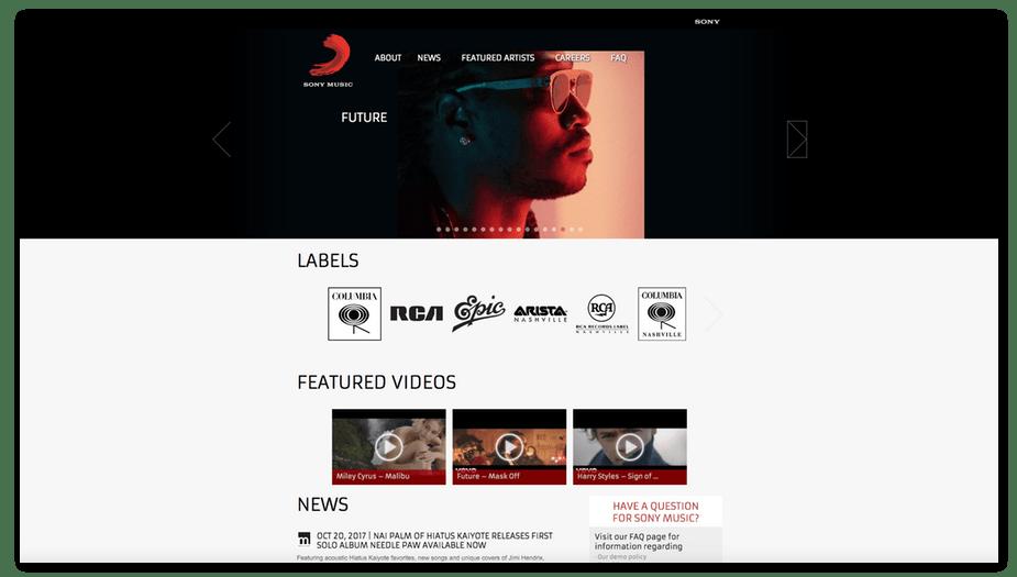 sony music webiste