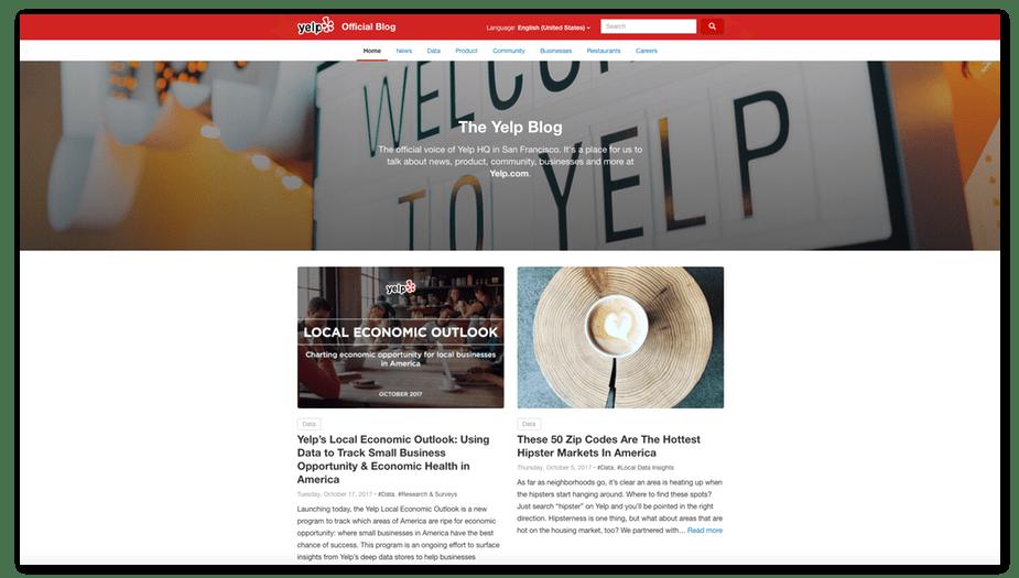 yelp blog homepage