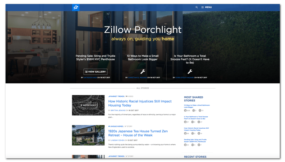 zillow porchlight homepage